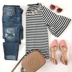 peach pink scalloped pumps, gucci soho disco leather bag, striped double ruffle top, step hem ripped jeans, pink sunglasses, casual outfit, street style - click the photo for outfit details!