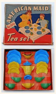 AKRO AGATE AMERICAN MAID OCTAGONAL GLASS TEA SET c.1930