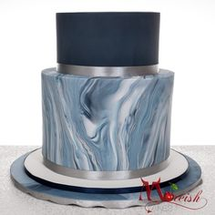 Navy blue and marble cake with silver accents for this christening cake by Monica Cavallaro at Moreish Cakes Australia Navy Cakes, Blue Cakes, Boy Communion Cake, Blue Birthday Cakes, 16th Birthday, Macarons, Christening Cake Boy, Dummy Cake, Religious Cakes