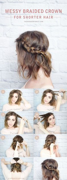 Messy Braided Crown for Shorter Hair Tutorial - DIY Hairstyles Messy . - Messy Braided Crown for Shorter Hair Tutorial – DIY Hairstyles Messy Braided Crown for shorter ha - Cute Braided Hairstyles, Diy Hairstyles, Straight Hairstyles, Gorgeous Hairstyles, Hairstyle Ideas, Easy Hairstyles For Short Hair, Hairstyle Tutorials, Hairstyles For Medium Length Hair Tutorial, Boho Hairstyles Medium