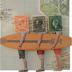 Collage Made From Maps, Magazine Clippings and Postage Stamps Sian Robertson Aloha Friday