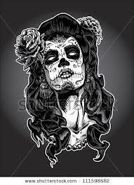 Illustration about Day of the Dead gypsy woman with Sugar Skull Face Paint. Illustration of hair, illustration, gypsy - 29926474 Sugar Skull Mädchen, Sugar Skull Face Paint, Sugar Skull Tattoos, Day Of The Dead Woman, Day Of The Dead Skull, Diamond Tattoo Designs, Diamond Tattoos, Girl Skull, Skull Art
