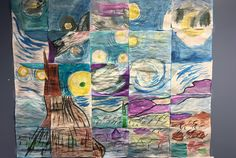 This graphing project was so much fun! I enlarged and printed out a gray and white photo of the Starry Night. Each section shown is the size of normal copy paper. To start, we discussed the Starry …