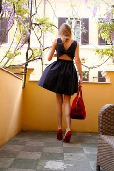 classic dress with red purse pumps