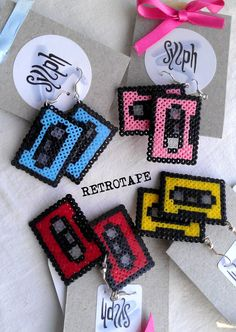 Earrings made of Hama Mini Beads Retrotape by SylphDesigns, color Earrings made of Hama Mini Perler Beads - Retrotape (various colors) Perler Bead Designs, Easy Perler Bead Patterns, Melty Bead Patterns, Perler Bead Templates, Hama Beads Design, Beading Patterns, Bracelet Patterns, Mini Hama Beads, Hama Mini