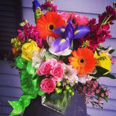 Summer Vase Arrangement with Gerbers & Iris