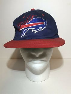 0355fb8b110 Vintage Buffalo Bills Snapback Hat Team NFL Cap Football Blue Adjustable