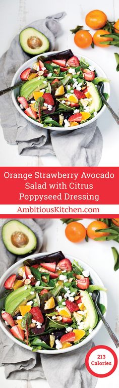 Strawberry Avocado Salad packed with heart-healthy fats, creamy goat cheese, toasted almonds and a light citrus poppyseed dressing. Like Panera's salad — but so much better!