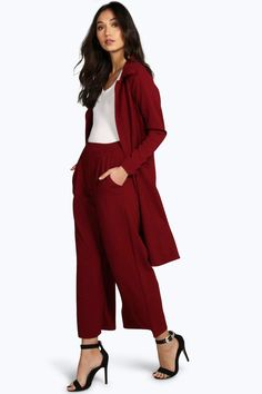 Slay your way to killer outfits with our huge collection of womens trousers to suit every shape and size. Wide Leg Palazzo Pants, Wide Leg Cropped Pants, Red Trousers, Trousers Women, Boohoo, Fancy, Suits, Wine, Clothes