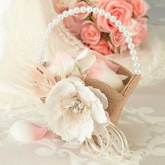 Exclusively Weddings | Burlap and Lace Flower Basket