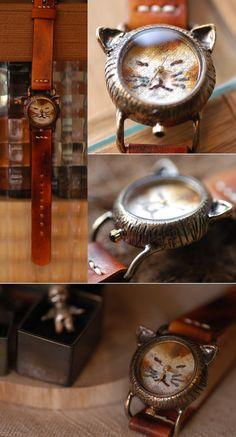 Vintage Watch. Handmade Leather Band ///////// by metaletlinnen