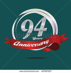 94 years silver anniversary logo with silver ring composition and red ribbon. anniversary logo for birthday, celebration, wedding and party