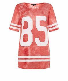 Coral (Orange) Coral 85 Tie Dye Longline Baseball Top | 307225283 | New Look