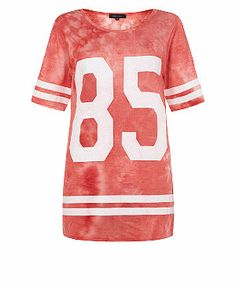 Coral (Orange) Coral 85 Tie Dye Longline Baseball Top | 307225283 | New Look