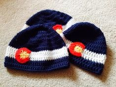 Colorado Flag Hat, free crochet pattern in toddler, youth, and adult sizes on Threaded Together