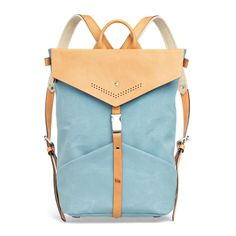 Turquoise Blue Textile and Leather Ezra Backpack