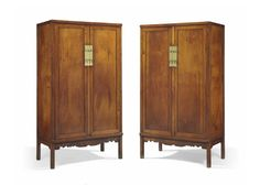 A pair of huanghuali square-corner cabinets, fangjiaogui, early 18th century
