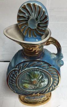 James Beam Whiskey 1/5 Gallon Decanter Empty Blue Gilded Flower Tulip Leaves1967