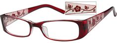 Red Two Tone Plastic Full-Rim Frame with Incised Pattern on Temples (Same Appearance as Frame #8391) 339128