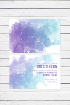 Double sided 'Modern Watercolour' 21st invitation, twenty one, 21st birthday, party invitation, purple, teal, watercolour