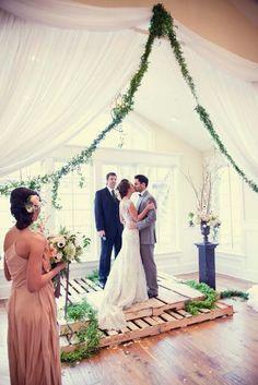 garden wedding, ceremony, peach, blush, bliss un-wedding.  photography by Jessica's Photography