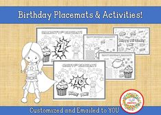 Personalized Birthday Placemat, Superhero Birthday Party Printable, Kid's Custom Coloring Activity Sheet, Birthday Coloring Printable, Counting Activities, Color Activities, Learning Resources, Teaching Ideas, Name Tracing Worksheets, Kindergarten Blogs, Birthday Coloring Pages, Learn To Spell, Superhero Birthday Party