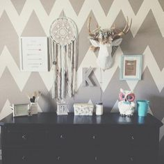 We are loving the way that one of our clients has used The Alfred to decorate this nursery! He fits in lovely and looks great on that chevron wall! Taxidermy Decor, Faux Taxidermy, White Deer Heads, Deer Head Decor, Girl Room, Architecture, Decoration, Room Decor, Godchild