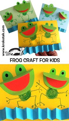 Adorable frog craft for kids. Perfect for spring or summer! Adorable frog craft for kids. Crab Crafts, Spring Crafts For Kids, Paper Crafts For Kids, Projects For Kids, Art For Kids, Fall Crafts, Easter Crafts, Decor Crafts, Wood Crafts