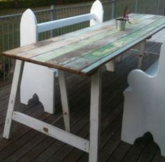 old timber door trestle table