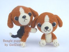 crochet beagle puppies - amigurumi - the real reason I want to learn how to… Crochet Patterns Amigurumi, Amigurumi Doll, Crochet Dolls, Schnauzer Puppy, Beagle Puppy, Reborn, Dog Crafts, Basic Crochet Stitches, Cute Crochet