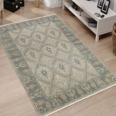 Hand-Knotted Ariel Gray Traditional Area Rug (9' x 12') (Grey - India - High Traffic), Size 9' x 12' (Wool, Border)