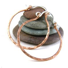 Hammered Copper Hoop Earrings Rustic Jewelry by ConstantCraving