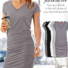 "Athleta tee dress New with tag. 62% polyester 33% rayon 5% spandex. underarm width 18"" shoulder to hem 37"" gray Athleta Dresses"