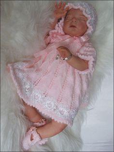 Knitting - Patterns for Children & Babies - Dress Patterns - Picot Edged Dress Set