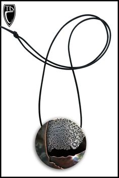 Todd Conover Hollow Formed Disc Pendant, 2015 copper, sterling, leather