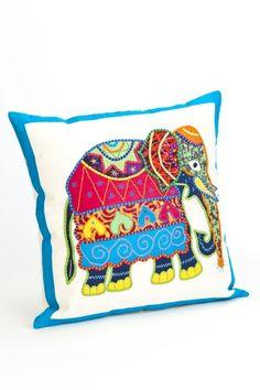 Sri Lanka Cushion Cover Elephant Hand Appliqué
