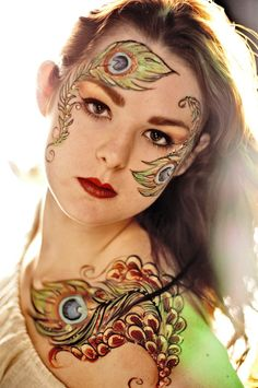 peacock face and body painting