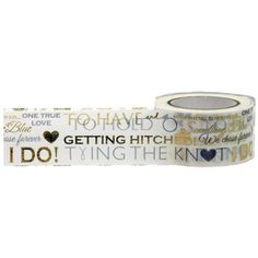 Gold Foil Wedding Word Play Washi Tape, 25mm Wide with Cutter by Little B