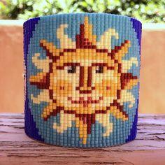Tempus Fugit Bead Loom Bracelet Artisanal Jewelry Latin Motif Sunshine Beaded…