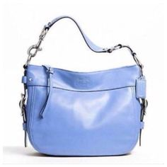 """🎉HOST PICK🎉💙Coach RARE Sky Blue Color💙 💙MY FAVORITE CRAYON: SKY BLUE!💙Absolutely beautiful!! Authentic Coach Zoe Leather Shoulder Bag • Inside zip, cell phone and multifunction pockets • Zip-top closure, fabric lining • Handle with 10"""" drop •  12 1/4"""" (L) x 10 1/4"""" (H) x 3 3/4"""" (W) • Like new  condition! Coach Bags"""