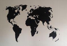Weltkarte auf Wand gemalt