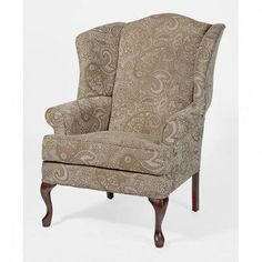 Elaina Cream (Ivory) Paisley Print Wingback Accent Chair by Greyson Living (Elaina Cream Paisley Wingback Chair) (Chenille)