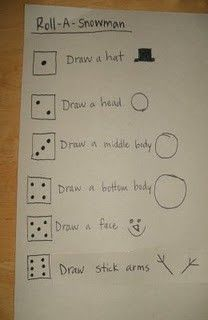 Roll and draw a snowman game idea.