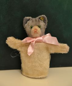 Steiff Tabby Cat Hand Puppet (c.1950's) - pinned by pin4etsy.com
