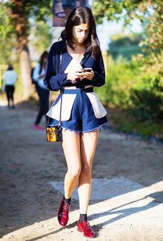50 Cool Girl–Approved Outfit Ideas via @WhoWhatWear. I Love her shoes. Great color!