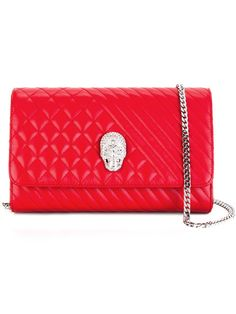 PHILIPP PLEIN 'Mad' Clutch. #philippplein #bags #stone #leather #clutch #polyester #shoulder bags #hand bags #