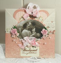 """Wild Orchid Crafts: """"Envelope card"""". Maybe for wedding favors. Pic of bride and groom."""