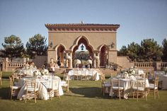 Reception: outside, tables, chairs, decor