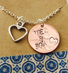 Me and You Hand Stamped Penny Necklace -Personalized Penny Necklace - Couples Necklace