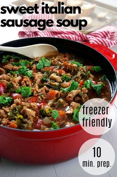 If you need a family dinner idea then you will love this healthy sweet Italian Sausage soup! It the perfect healthy weeknight dinner as it comes together in about 30 minutes. It is also perfect for meal prep for the week and is also a great freezer meal! Slow Cooker Freezer Meals, Healthy Freezer Meals, Healthy Weeknight Dinners, Slow Cooker Soup, Healthy Meal Prep, Healthy Soup Recipes, Easy Chicken Recipes, Italian Sausage Soup, Recipes With Few Ingredients